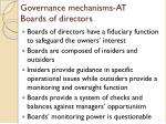 governance mechanisms at boards of directors