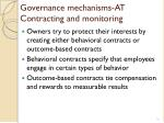 governance mechanisms at contracting and monitoring