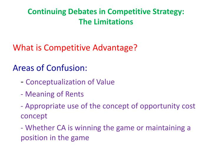 Continuing Debates in Competitive Strategy: