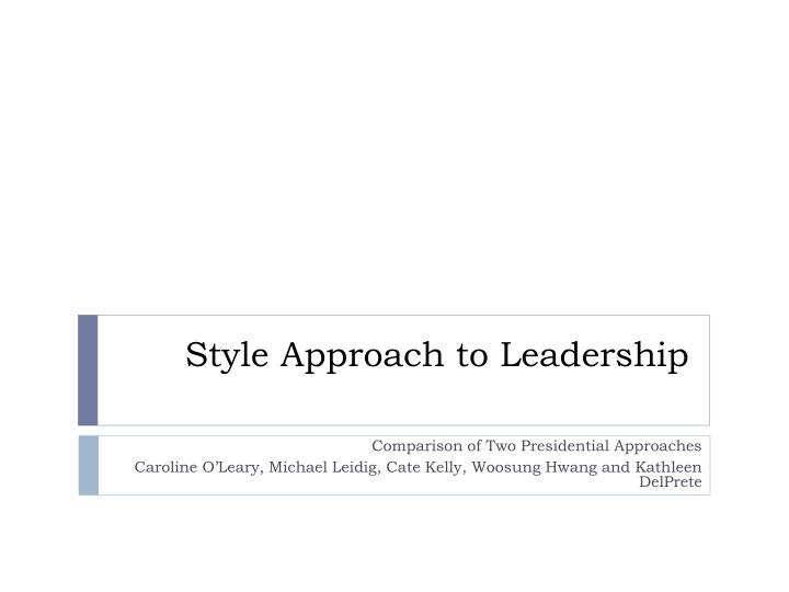 style approach to leadership