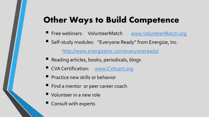 Other Ways to Build Competence
