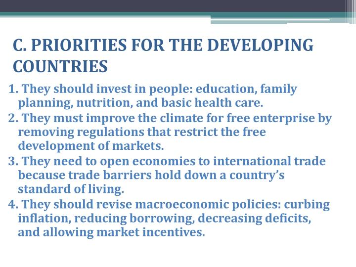 C. PRIORITIES FOR THE DEVELOPING COUNTRIES