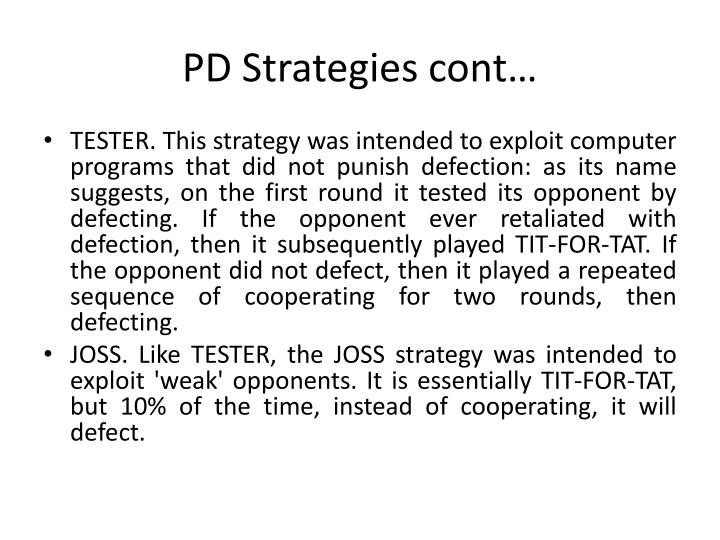 PD Strategies cont…