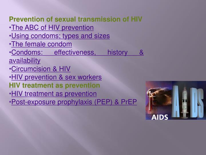 Prevention of sexual transmission of HIV