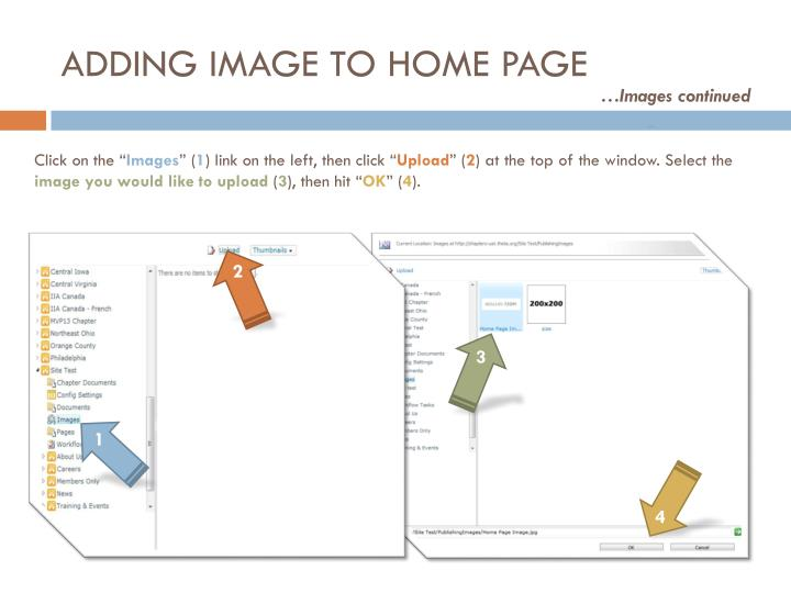 ADDING IMAGE TO HOME PAGE