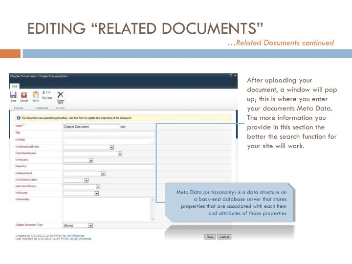"""EDITING """"RELATED DOCUMENTS"""""""