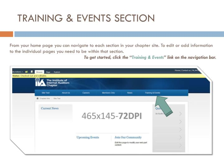 TRAINING & EVENTS SECTION