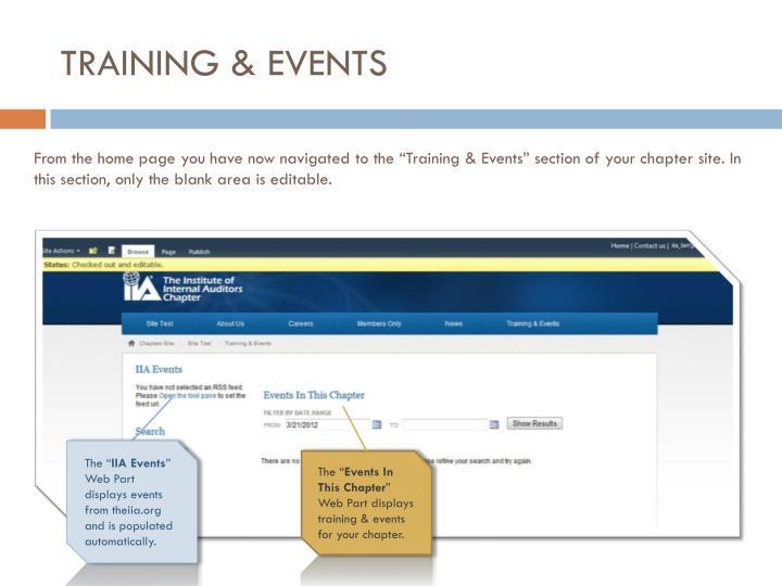 TRAINING & EVENTS