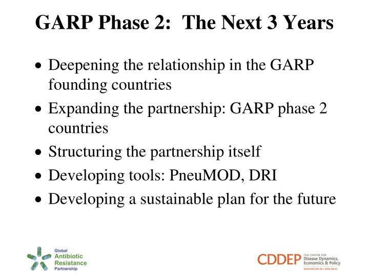 GARP Phase 2:  The Next 3 Years