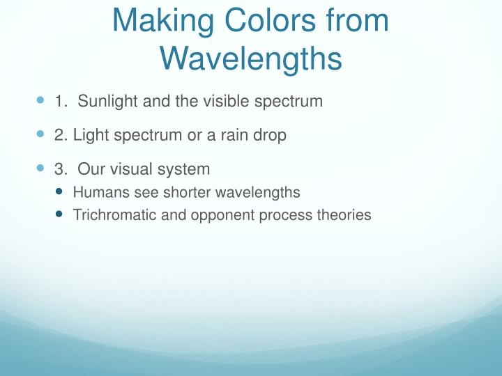 Making Colors from Wavelengths