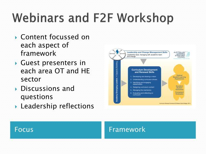 Webinars and F2F Workshop