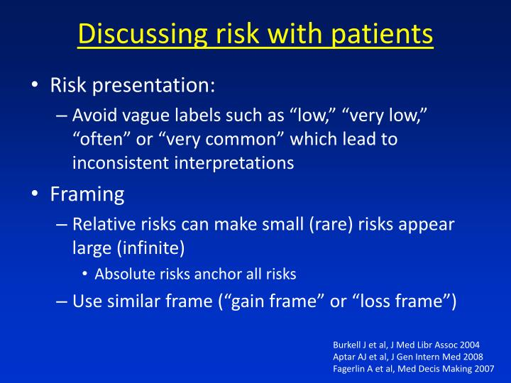 Discussing risk with patients