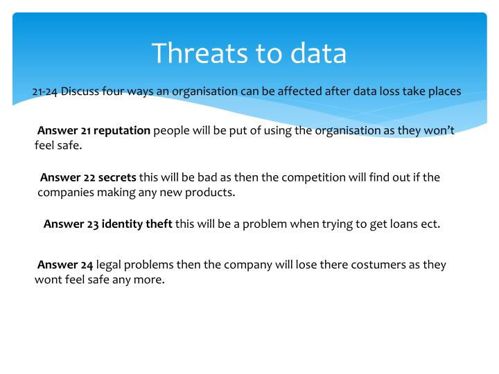 Threats to data