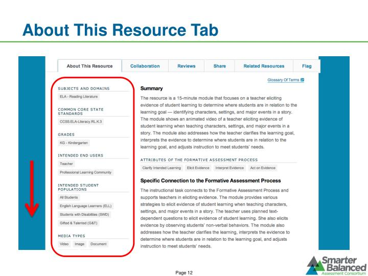 About This Resource Tab