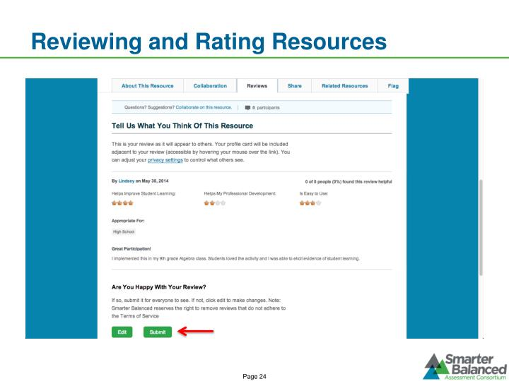 Reviewing and Rating Resources