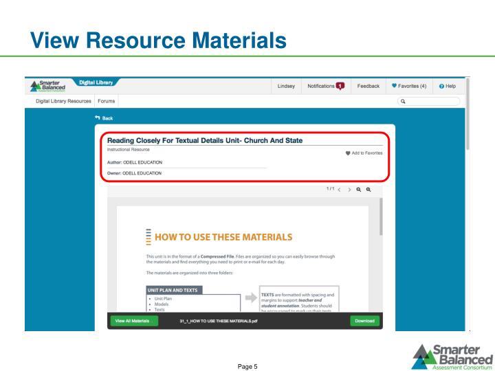 View Resource Materials