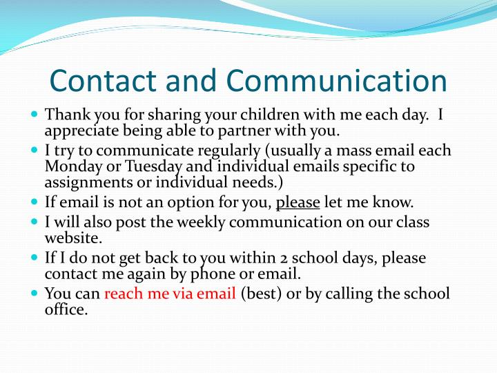 Contact and Communication