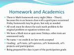 homework and academics