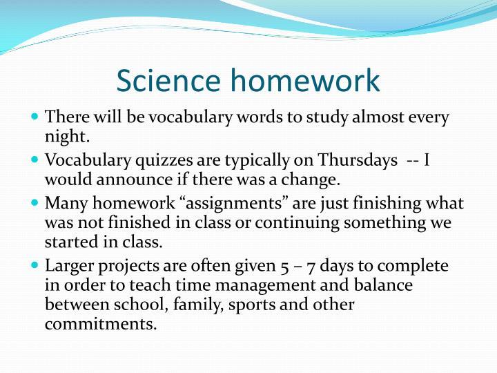 Science homework