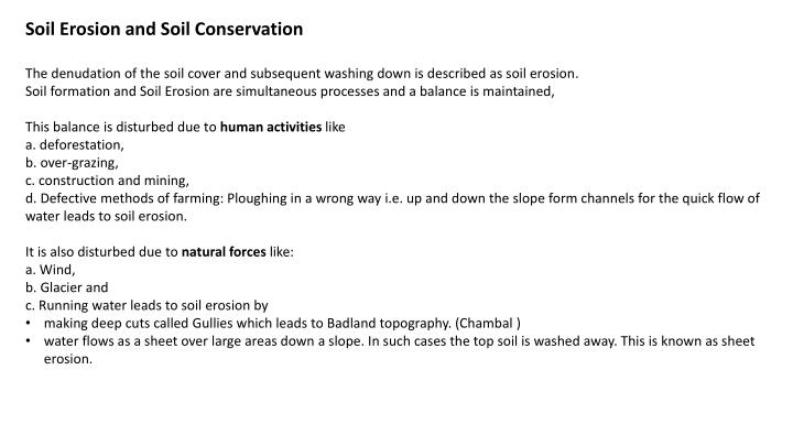 Soil Erosion and Soil Conservation