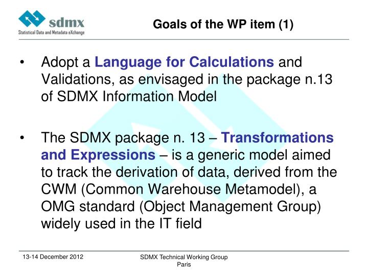 Goals of the WP item (1)