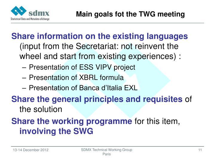 Main goals fot the TWG meeting