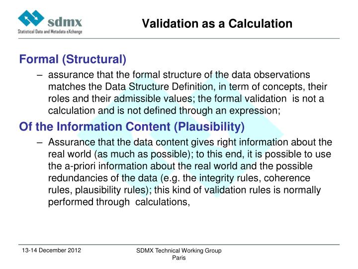 Validation as a Calculation