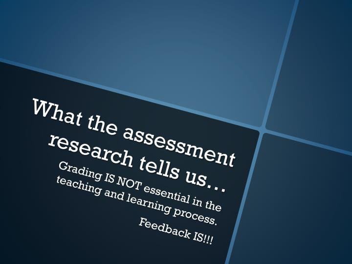What the assessment research tells us…