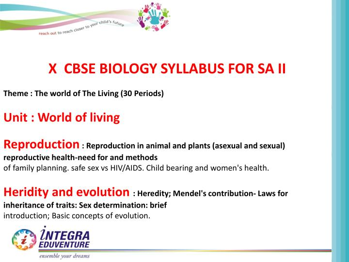 X  CBSE BIOLOGY SYLLABUS FOR SA II