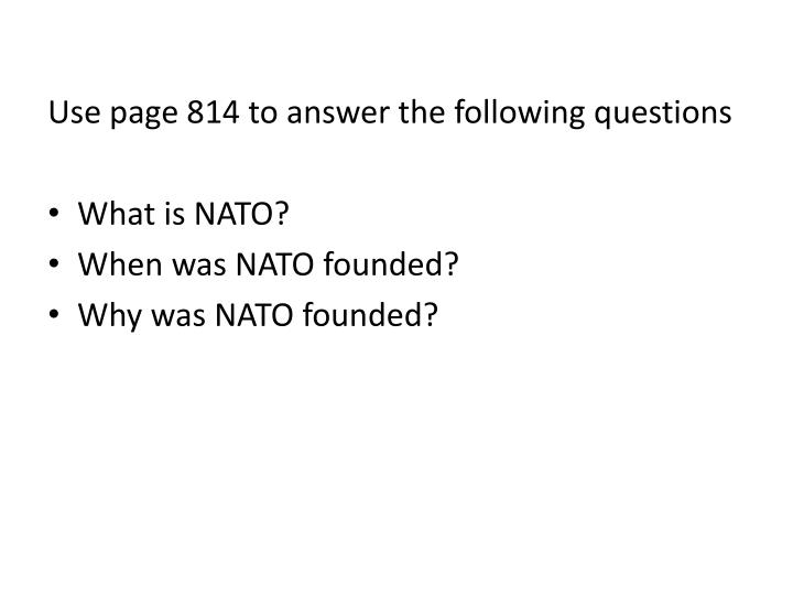 Use page 814 to answer the following questions