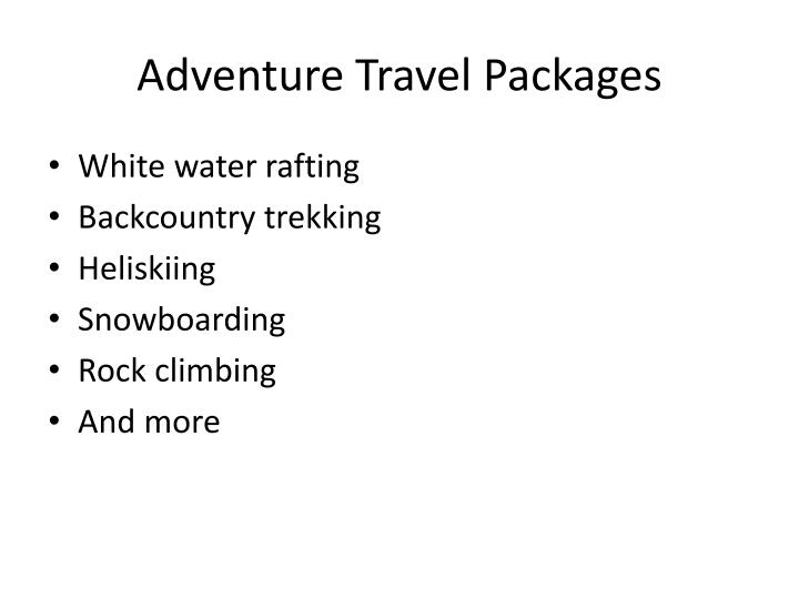 Adventure Travel Packages