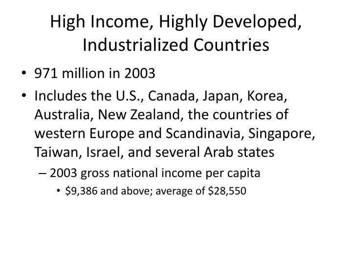 High Income, Highly Developed, Industrialized Countries
