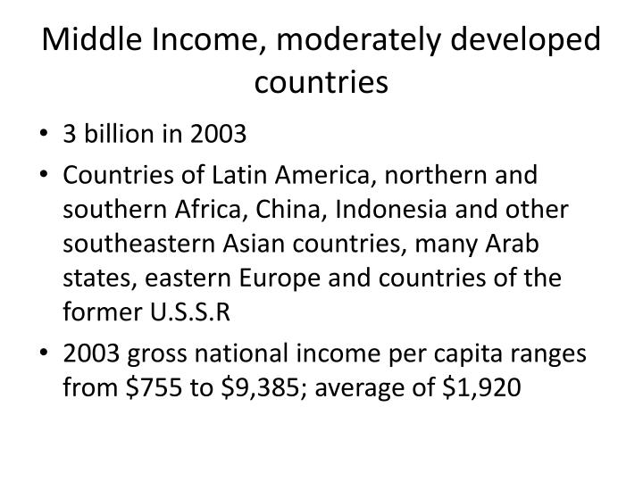 Middle Income, moderately developed countries