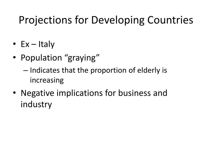 Projections for Developing Countries