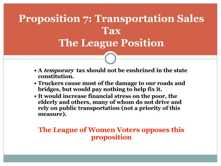 Proposition 7: Transportation Sales Tax