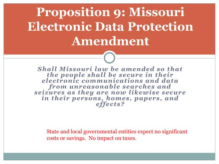 Proposition 9: Missouri Electronic