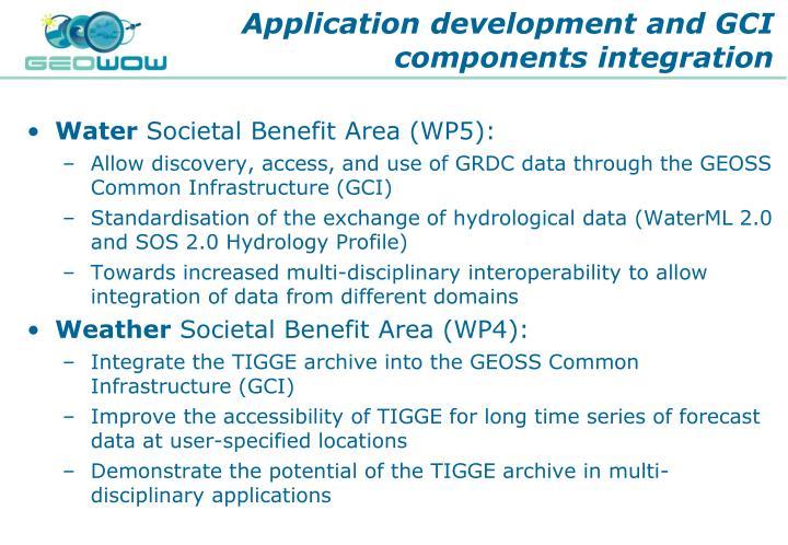 Application development and GCI components integration