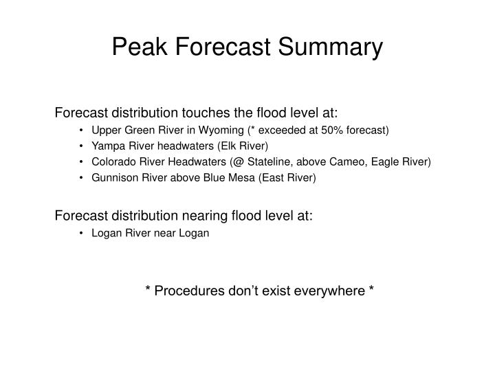 Peak Forecast Summary