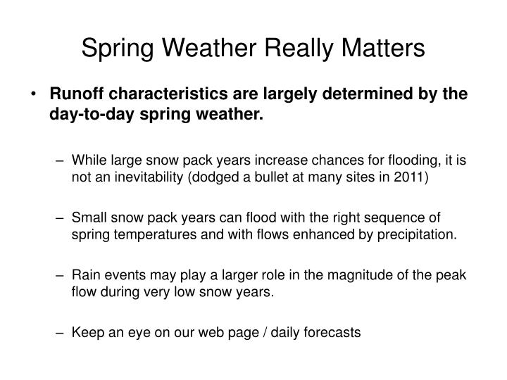 Spring Weather Really Matters