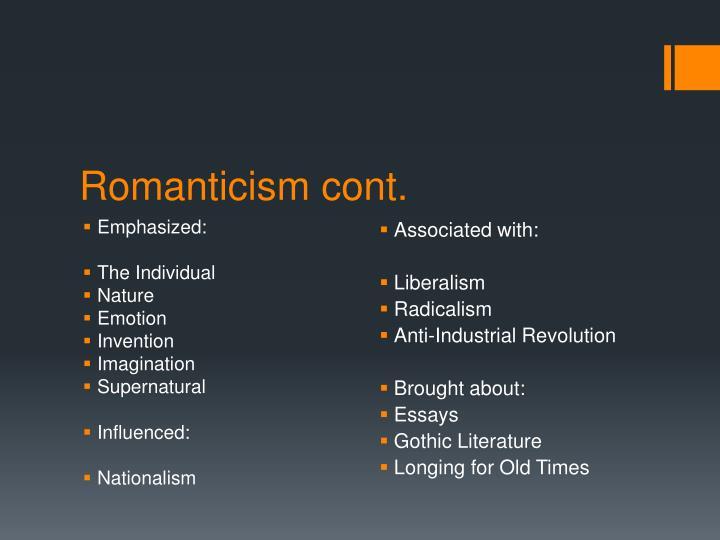Romanticism cont.