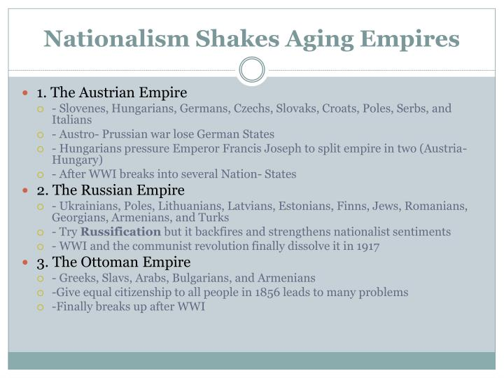 Nationalism shakes aging empires
