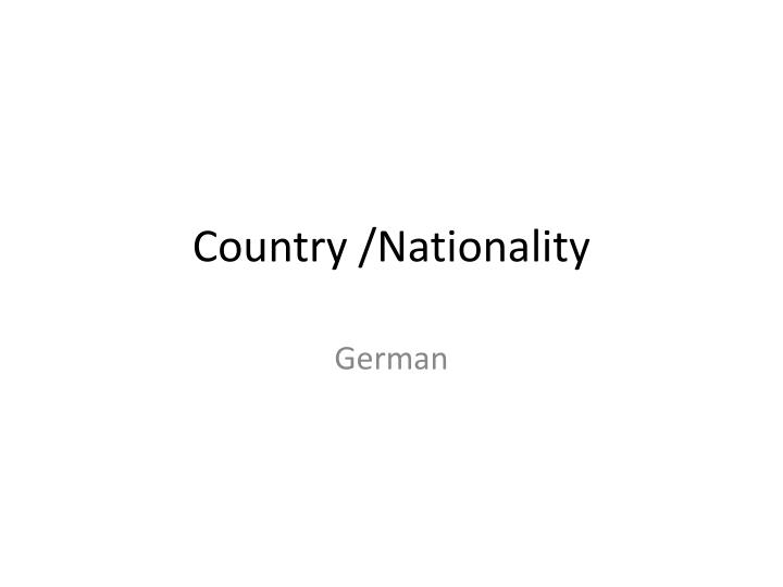 country nationality