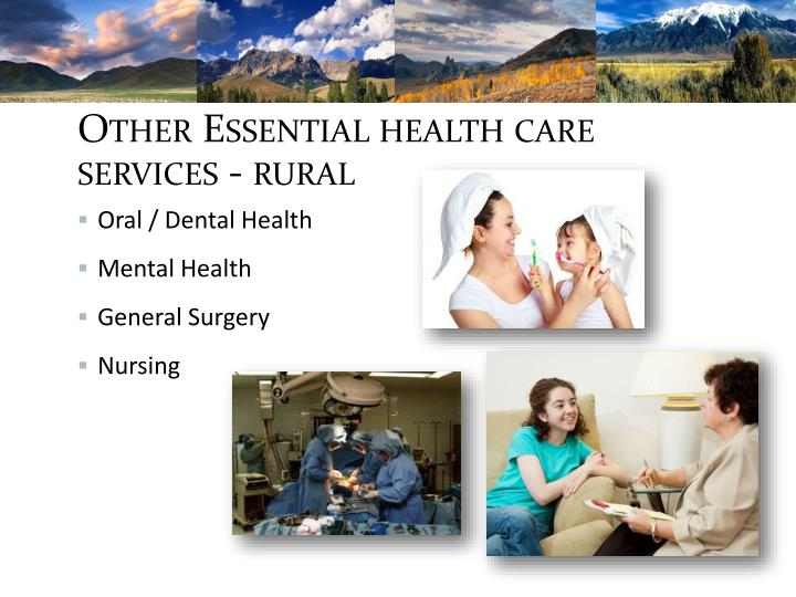 Other Essential health care services - rural
