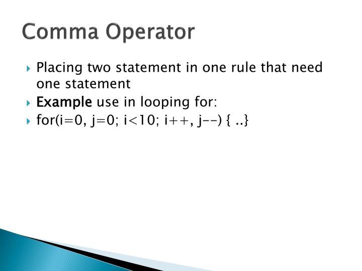 Comma Operator