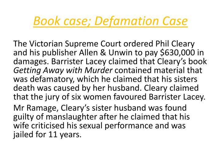 Book case defamation case