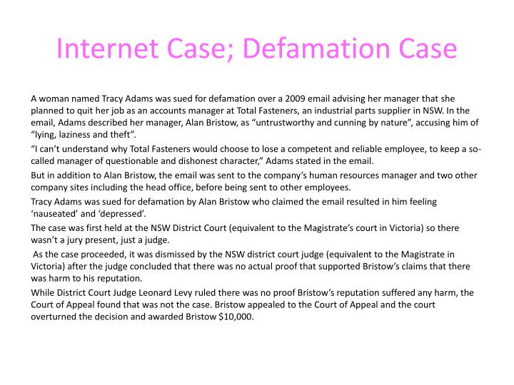 Internet case defamation case