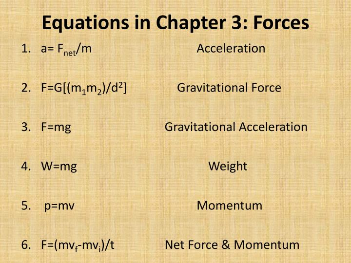 Equations in Chapter 3: Forces