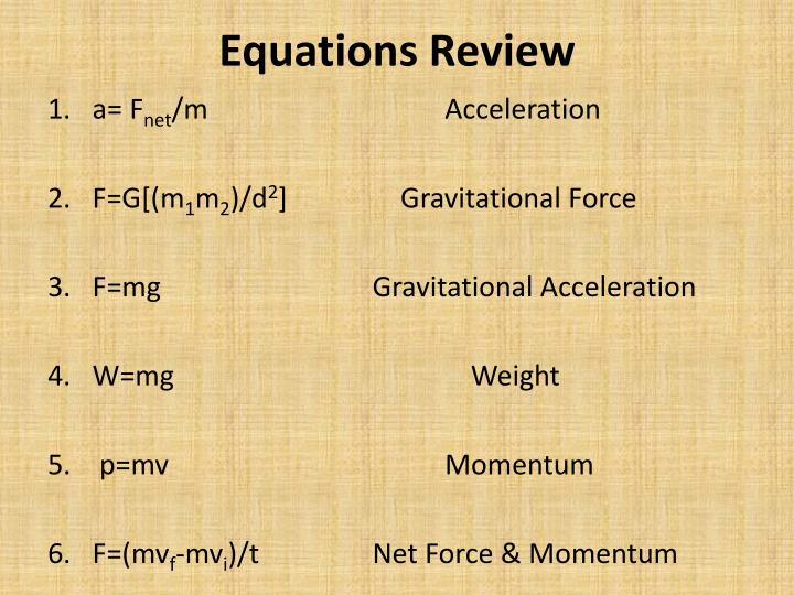 Equations Review
