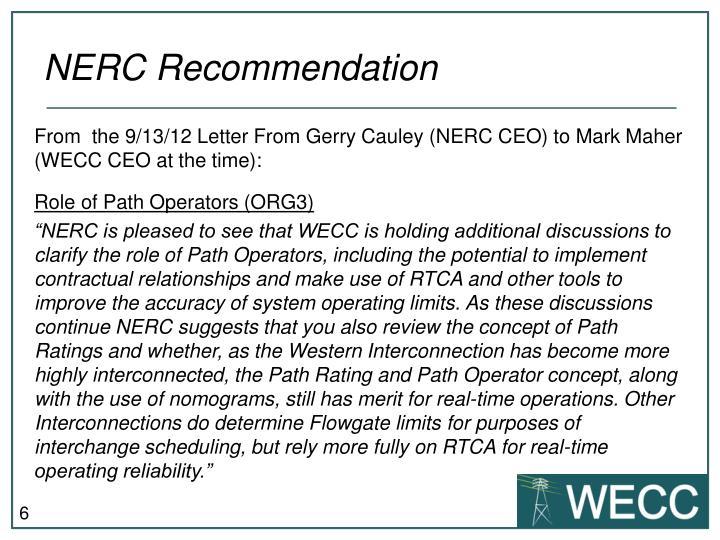 NERC Recommendation