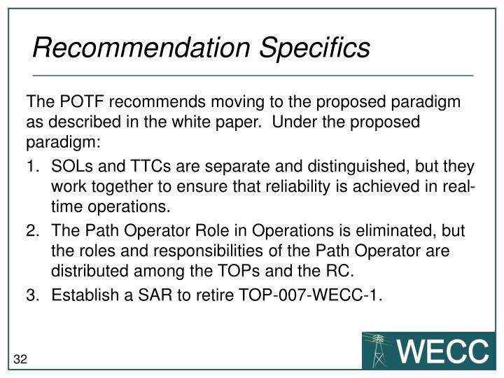 Recommendation Specifics